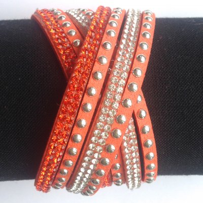 15. Wraparmband. Orange. Storl 16-18cm.